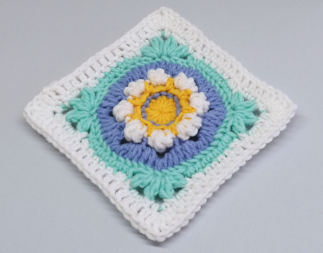 Read more about the article Crochet 3D Flower Granny Square Tutorial for Crochet Square for Blanket /  Crochet Motif #8
