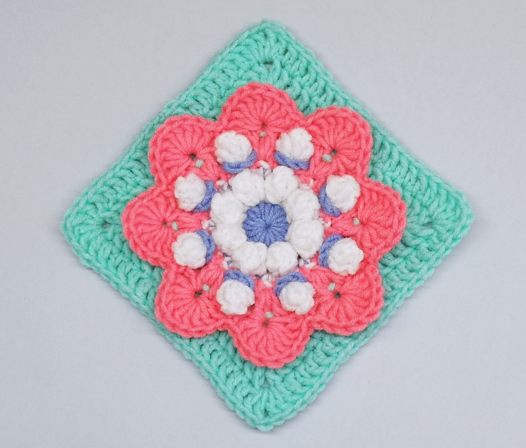 Read more about the article Crochet 3d flower granny square pattern / Crochet Motif #11