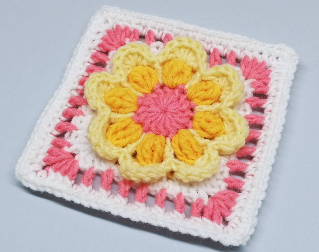 Read more about the article Crochet 3D Flower Granny Square Tutorial for Baby Girl Blanket / Crochet Motif #7