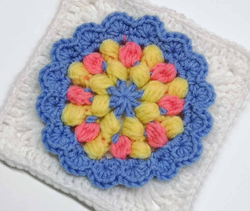 Read more about the article Crochet granny square pattern for flower themed baby girl blanket / Crochet motif #60