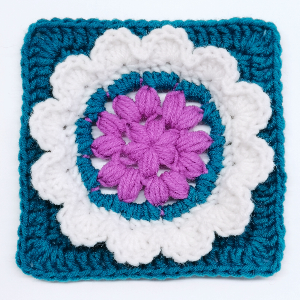Read more about the article Crochet Granny Square Pattern with 3D flower / Crochet Motif #1