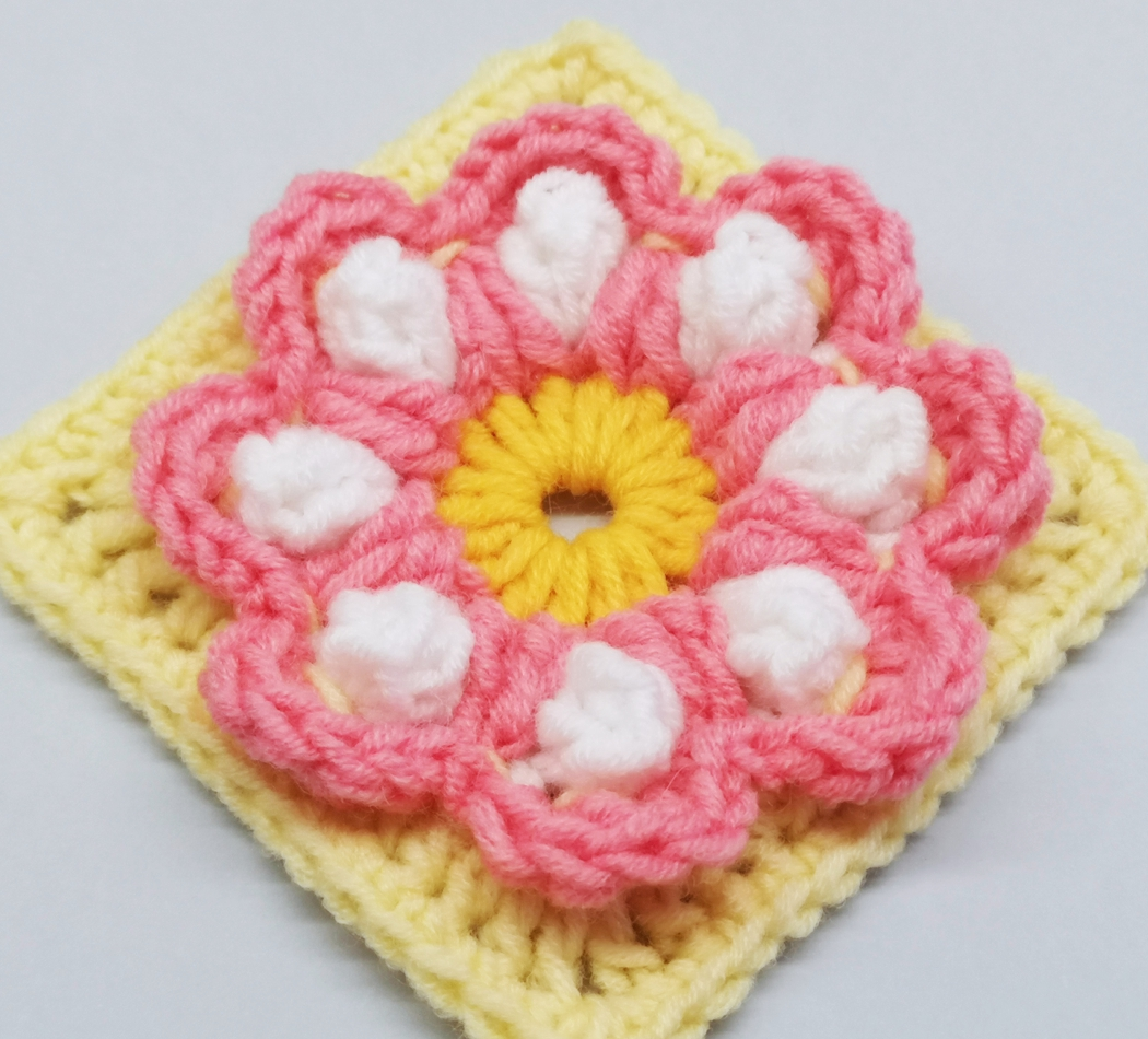 Read more about the article Crochet Granny Square with 3D flower / Crochet Motif #75
