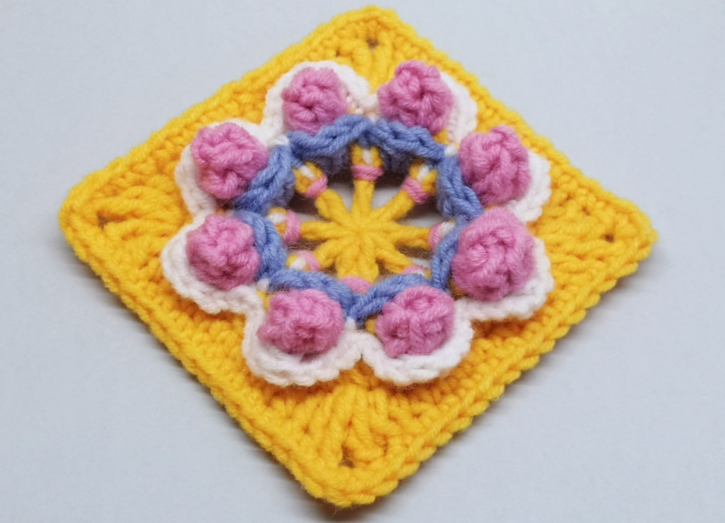Read more about the article Crochet granny square with 3D flower pattern / Crochet Motif #79
