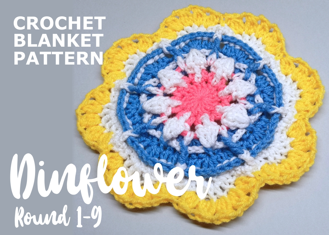 Read more about the article Crochet blanket Dinflower / Round 1-9