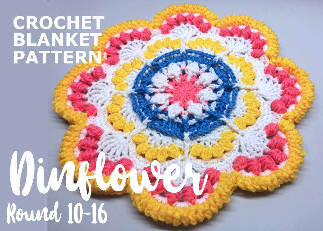 Read more about the article Crochet blanket Dinflower / Round 10-16