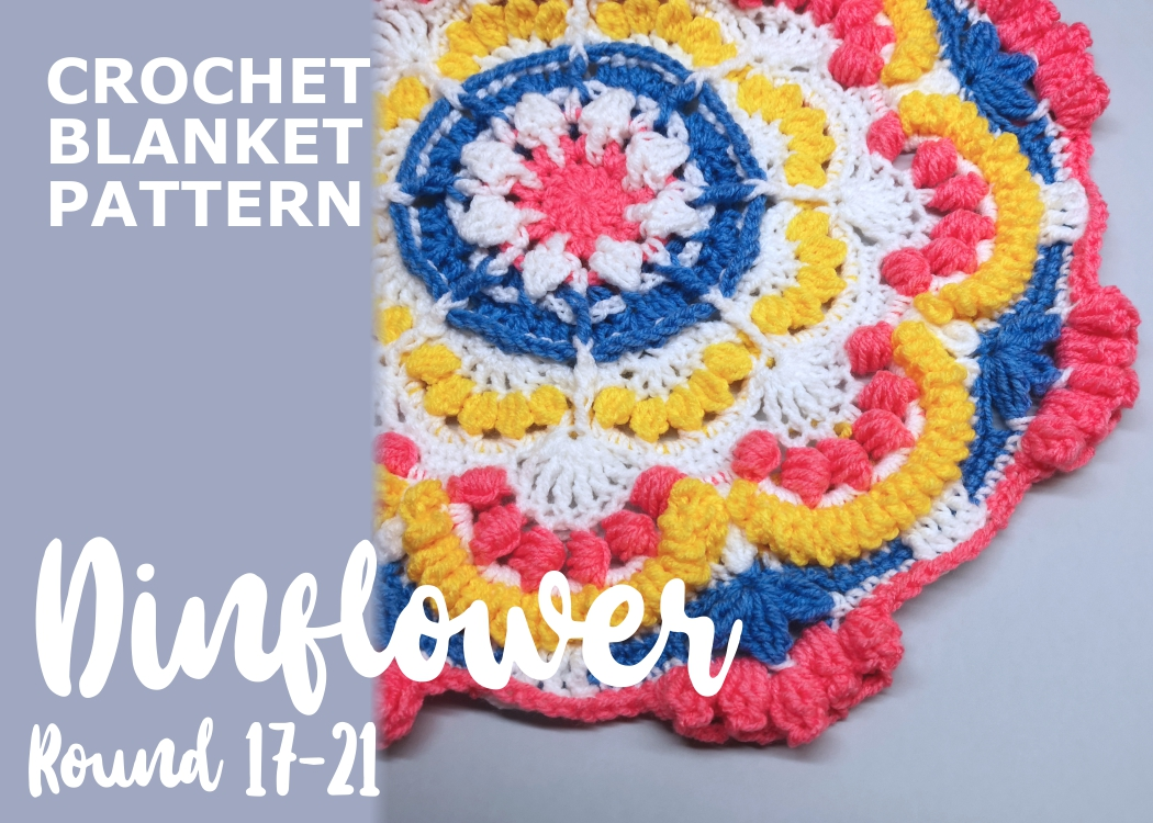 Read more about the article Crochet blanket Dinflower / Round 17-21